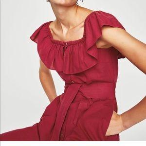 4f9f4fb356 Zara Dresses - Zara ruffled linen dress